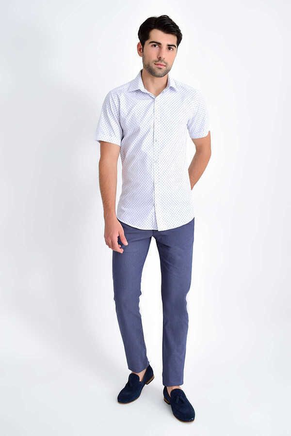 Hatemoğlu - Navy Printed Short Sleeve Shirt