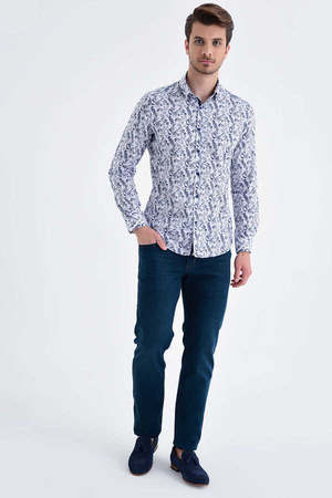 HTML - Navy Printed Slim Fit Casual Shirt