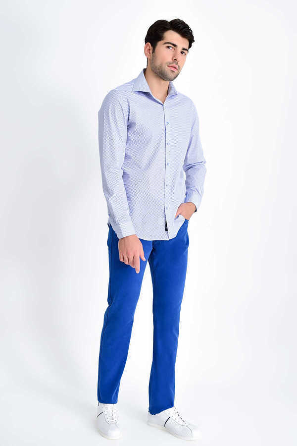 HTML - Navy Printed Slim Fit Shirt