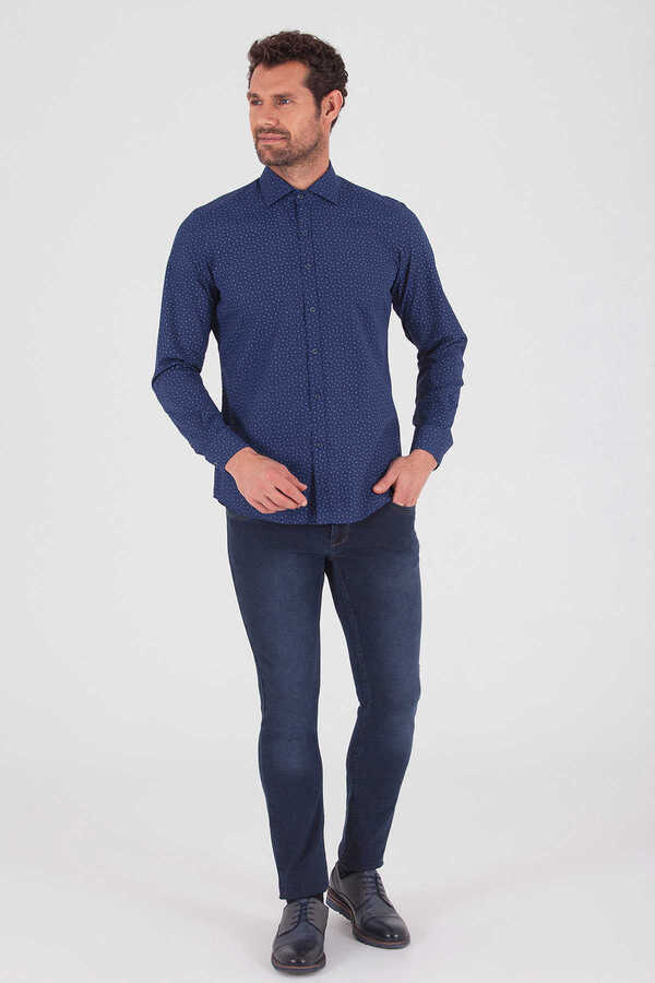 Hatemoğlu - Navy Printed Slim Fit Shirt