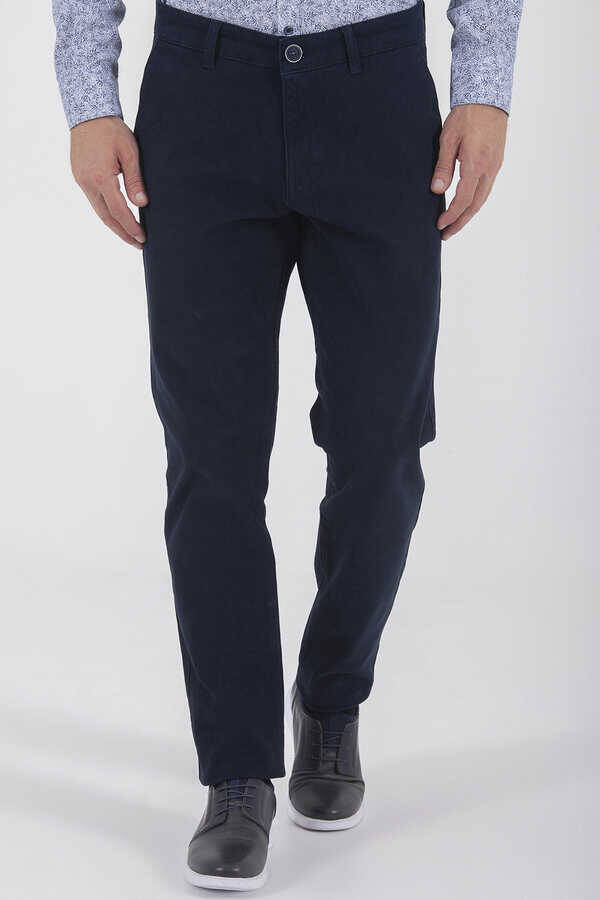 Navy Regular Fit Casual Pants