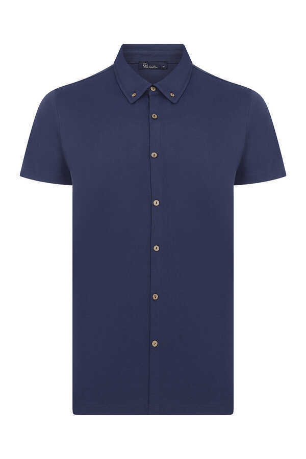 HTML - Navy Short Sleeve Casual Shirt