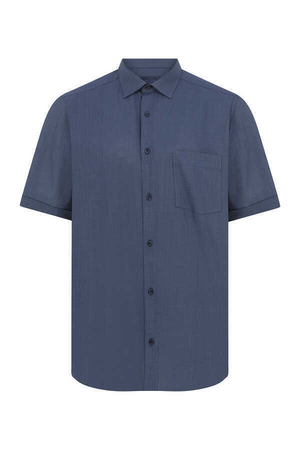 Navy Short Sleeve Dress Shirt - Thumbnail