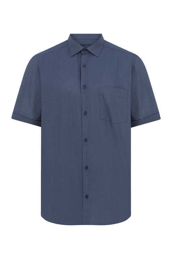 Hatemoğlu - Navy Short Sleeve Dress Shirt