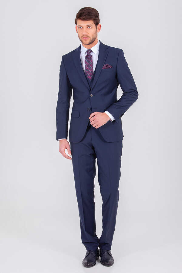 Hatem Saykı - Navy Slim Fit 3-Piece Suit
