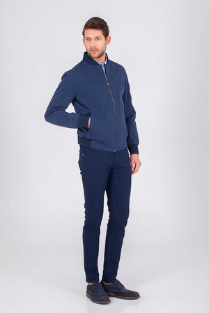 HTML - Navy Slim Fit Casual Jacket