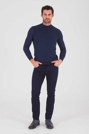 HTML - Navy Slim Fit Casual Pants