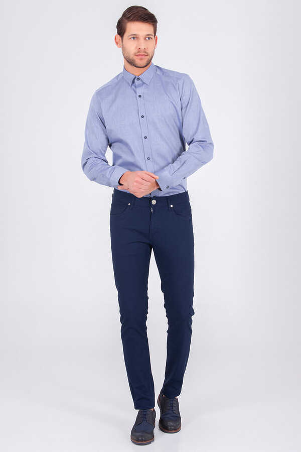 Hatem Saykı - Navy Slim Fit Casual Pants