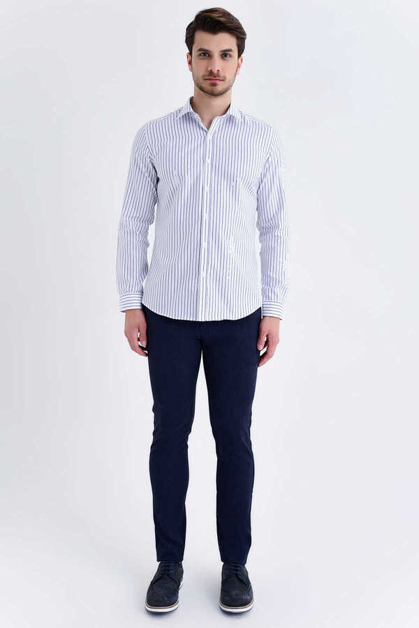 Hatem Saykı - Navy Striped Slim Fit Shirt