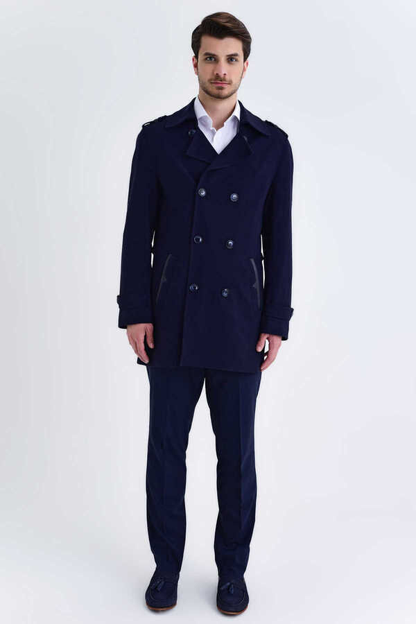 Hatem Saykı - Navy Wool Round Collar Coat