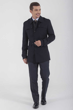 Hatem Saykı - Navy Wool Round Collar Overcoat
