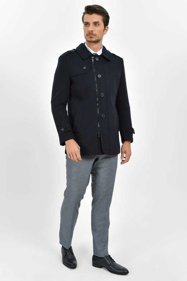 HTML - Navy Woolen Coat