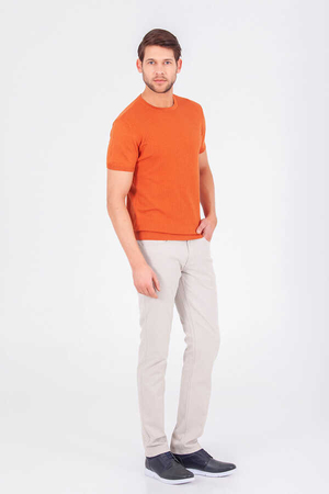 Hatem Saykı - Orange Basic Crew Neck T-shirt