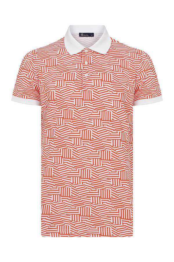 HTML - Orange Printed Polo T-Shirt