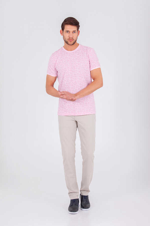 HTML - Pink Printed Crew Neck T-shirt