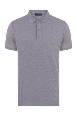 Hatem Saykı - Purple Printed Polo T-Shirt