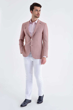 Hatem Saykı - Red Crosshatch Slim Fit Blazer