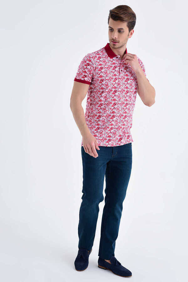 Red Floral Printed Polo Shirt