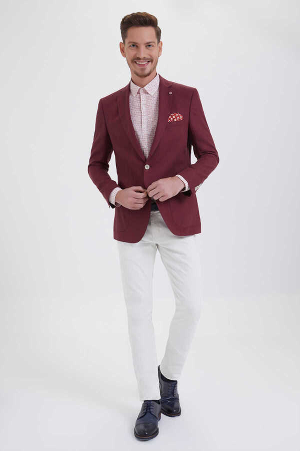 Hatem Saykı - Red Linen Slim Fit Blazer