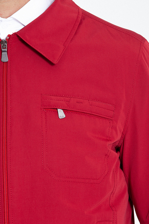 Red Round Collar Casual Jacket - Thumbnail