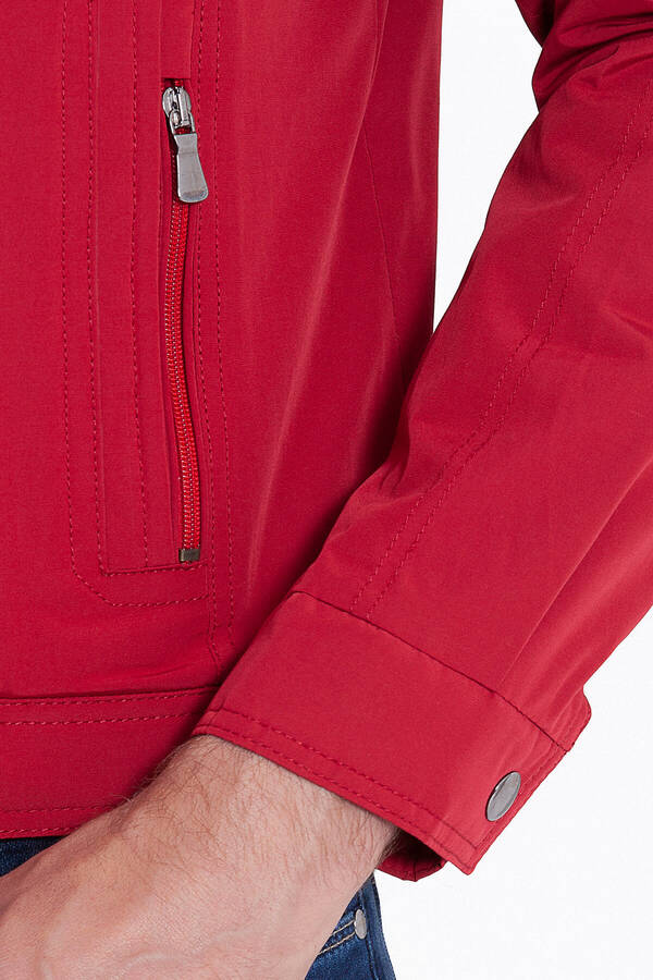 Red Round Collar Casual Jacket