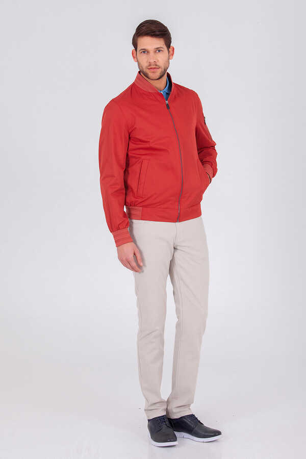 HTML - Red Slim Fit Casual Coat