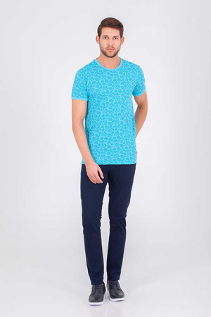 HTML - Tourqoise Printed Crew Neck T-shirt