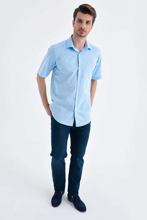 Hatemoğlu - Turqoise Button Down Short Sleeve Dress Shirt