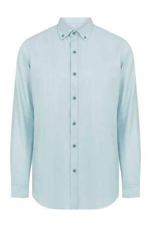 HTML - Turqoise Button Down Slim Fit Shirt