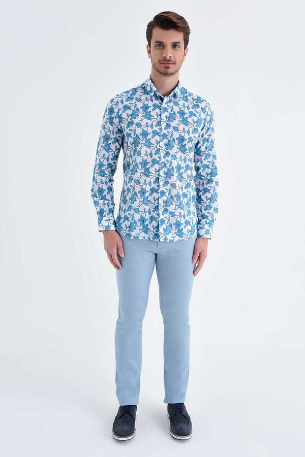 HTML - Turqoise Printed Slim Fit Casual Shirt
