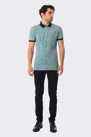 HTML - Turquoise Printed Polo T-Shirt