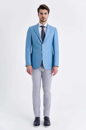 Hatem Saykı - Turquoise Slim Fit Sports Blazer