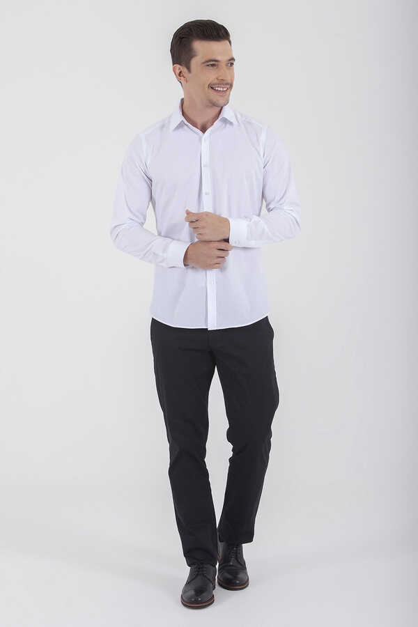 Hatemoğlu - White Dobby Slim Fit Dress Shirt