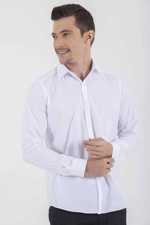 White Dobby Slim Fit Dress Shirt