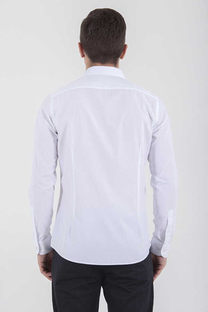 White Dobby Slim Fit Dress Shirt - Thumbnail
