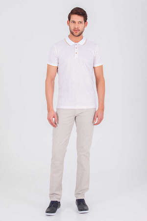 HTML - White Printed Polo Shirt