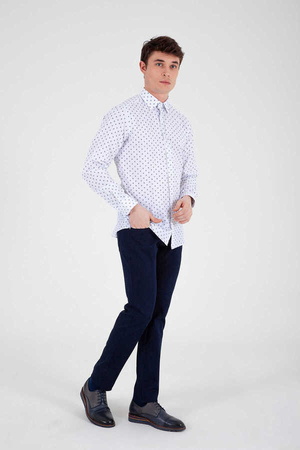 Hatemoğlu - White Printed Slim Fit Shirt