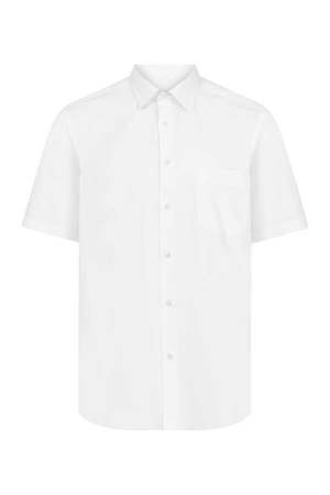 White Short Sleeve Dress Shirt - Thumbnail