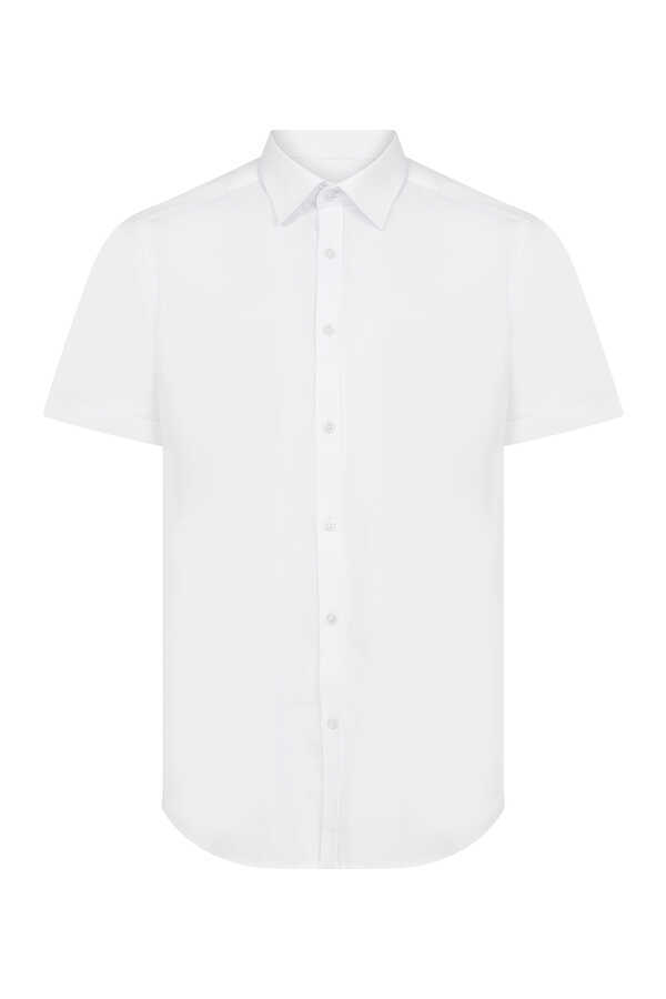 Hatemoğlu - White Short Sleeve Slim Fit Plain Shirt