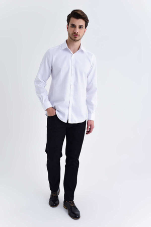 Hatemoğlu - White Slim Fit Plain Shirt