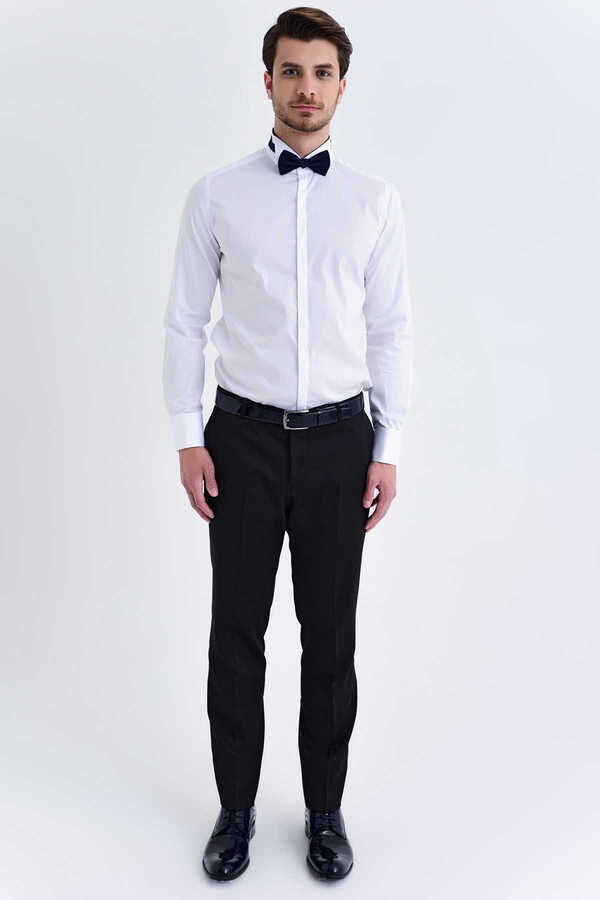 Hatem Saykı - White Striped Wing Collar Slim Fit Tuxedo Shirt