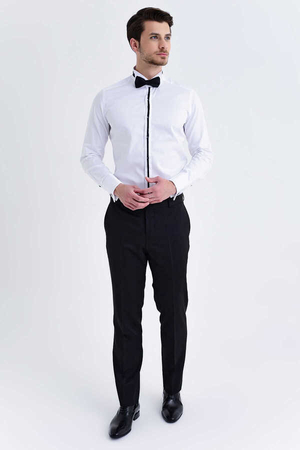 Hatem Saykı - White Wing Collar Slim Fit Tuxedo Shirt