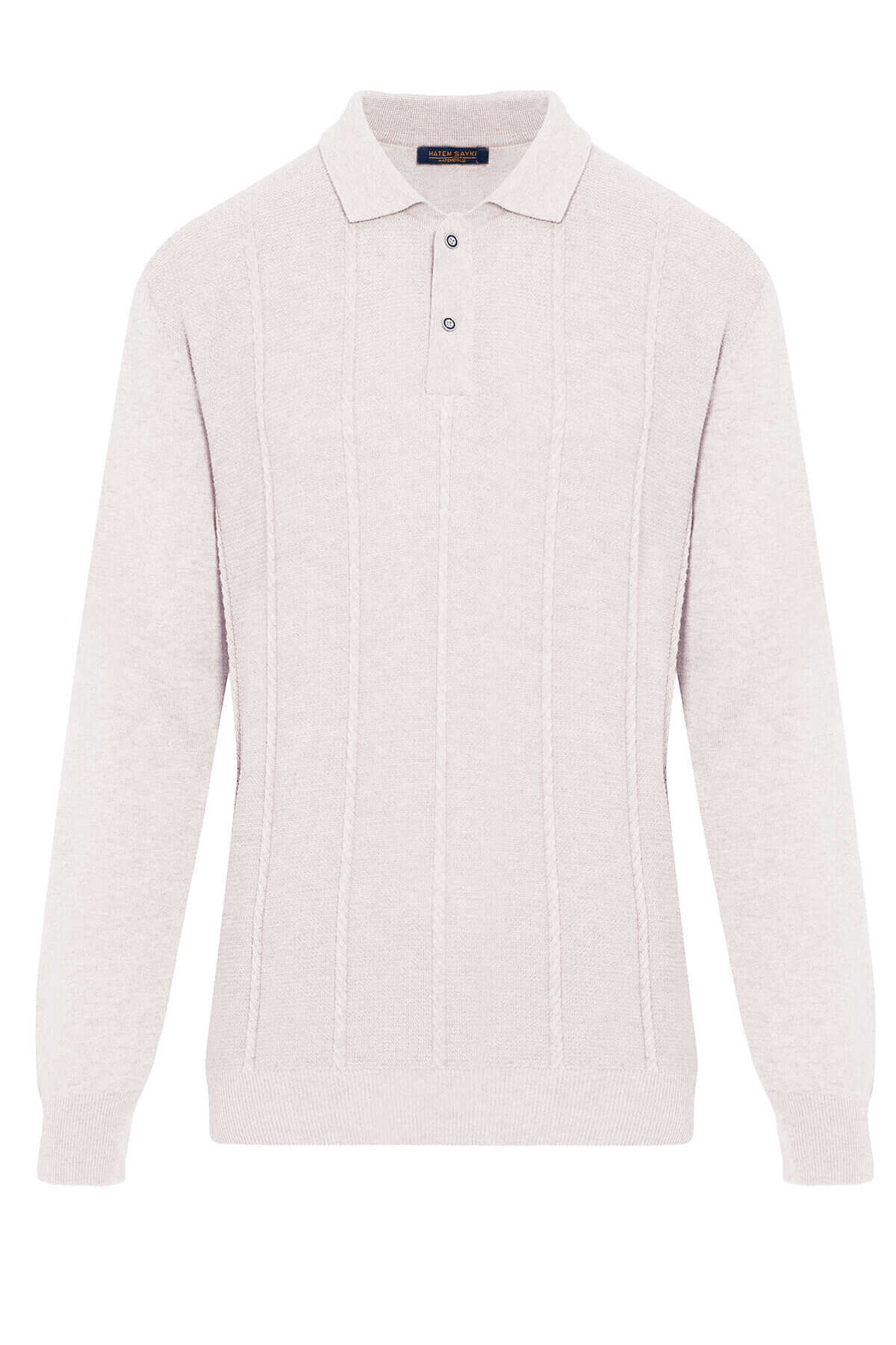 - Beige Polo Neck Buttoned Sweater