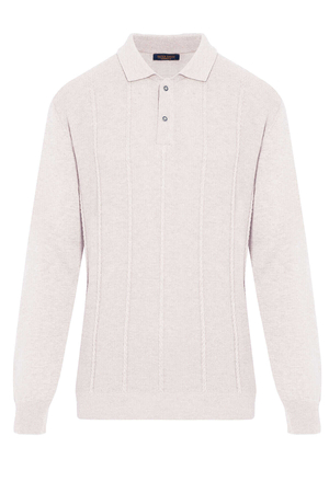 Beige Polo Neck Buttoned Sweater - Thumbnail