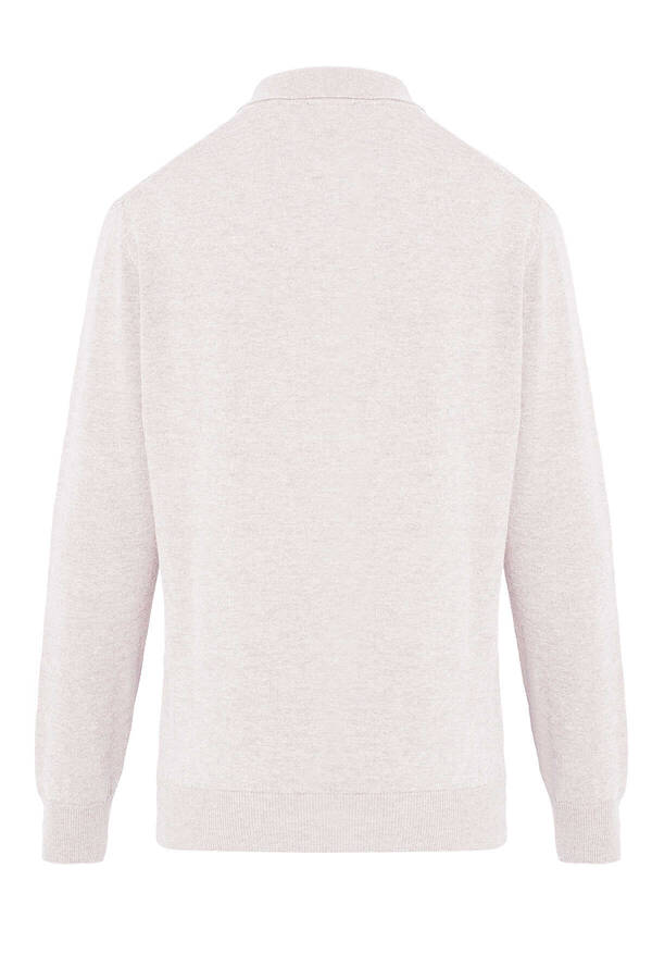 Beige Polo Neck Buttoned Sweater
