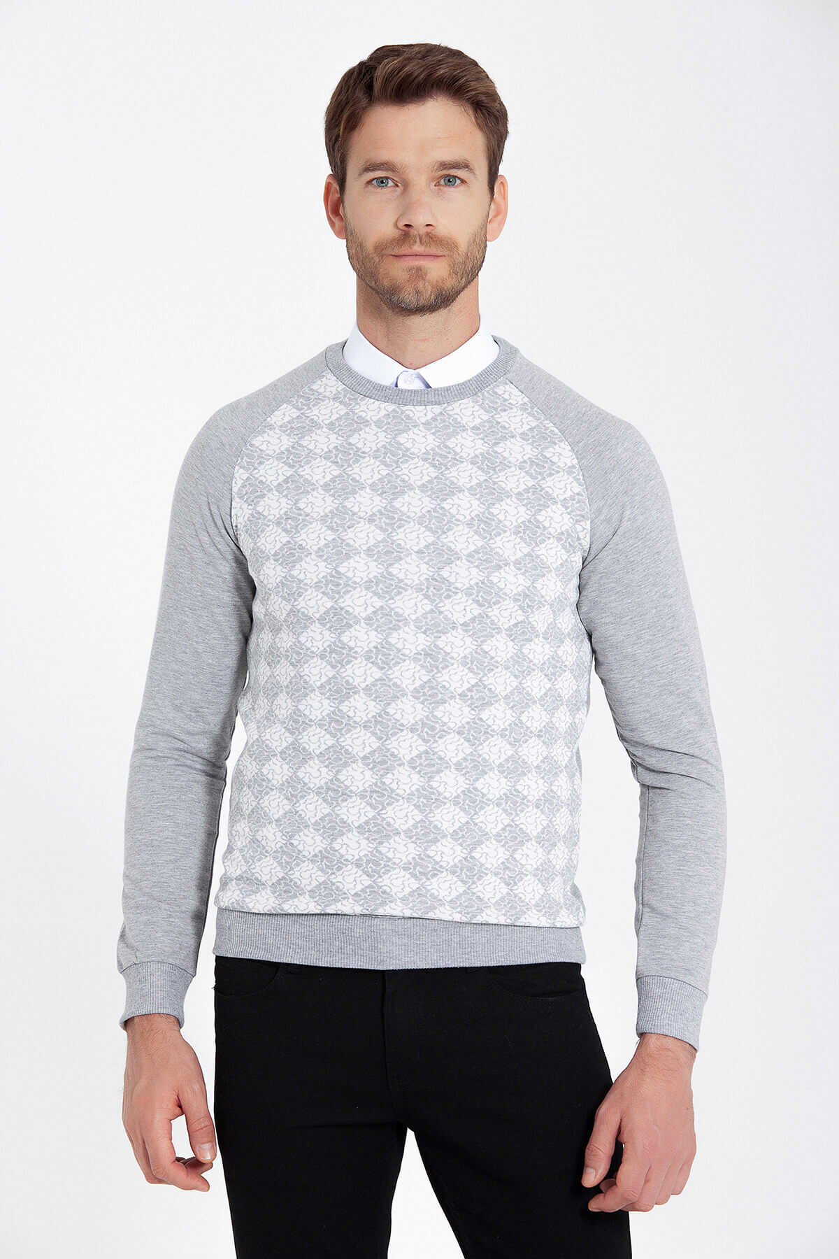 HTML - Grey Patterned Crew Neck Sweater