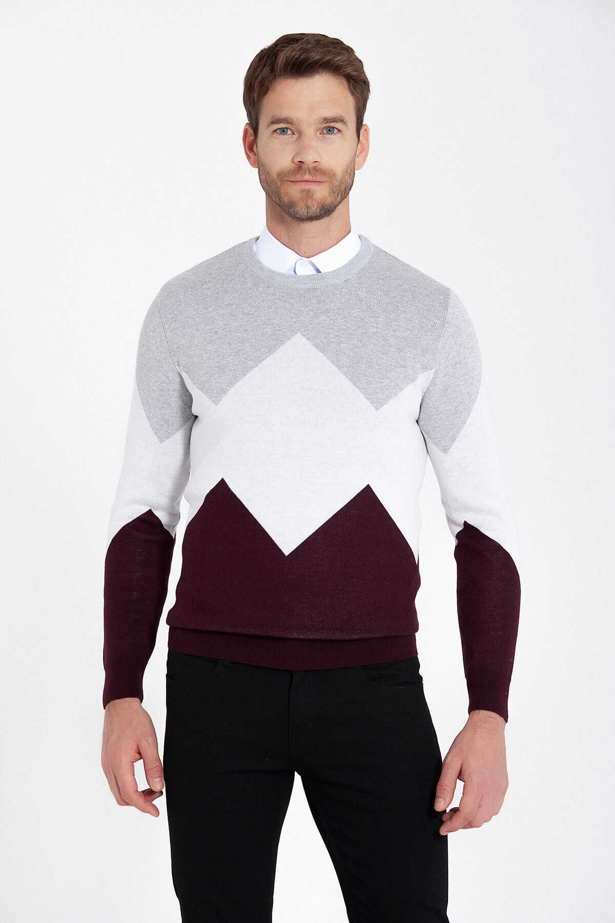 HATEM SAYKI - Grey Patterned Crew Neck Sweater