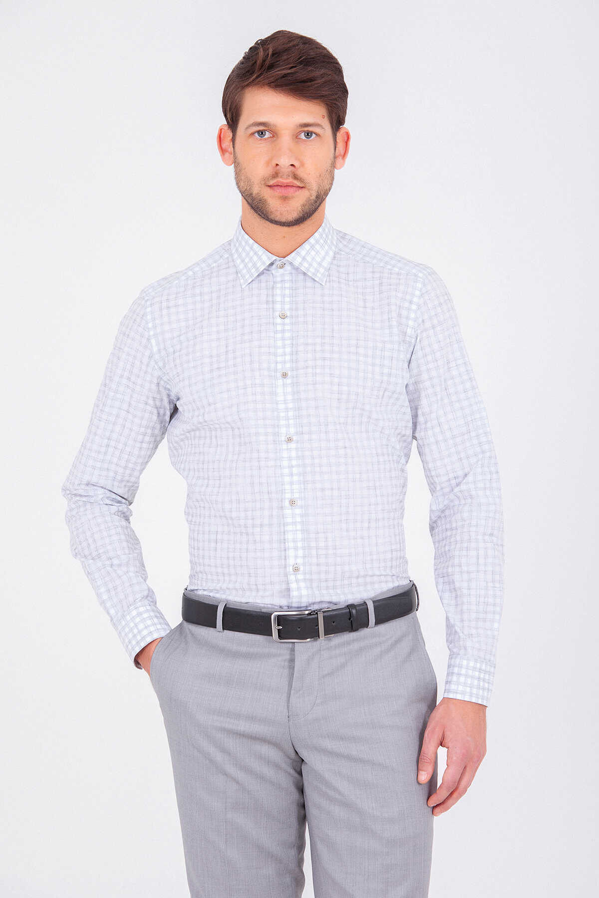 Hatem Saykı - Grey Plaid Slim Fit Shirt