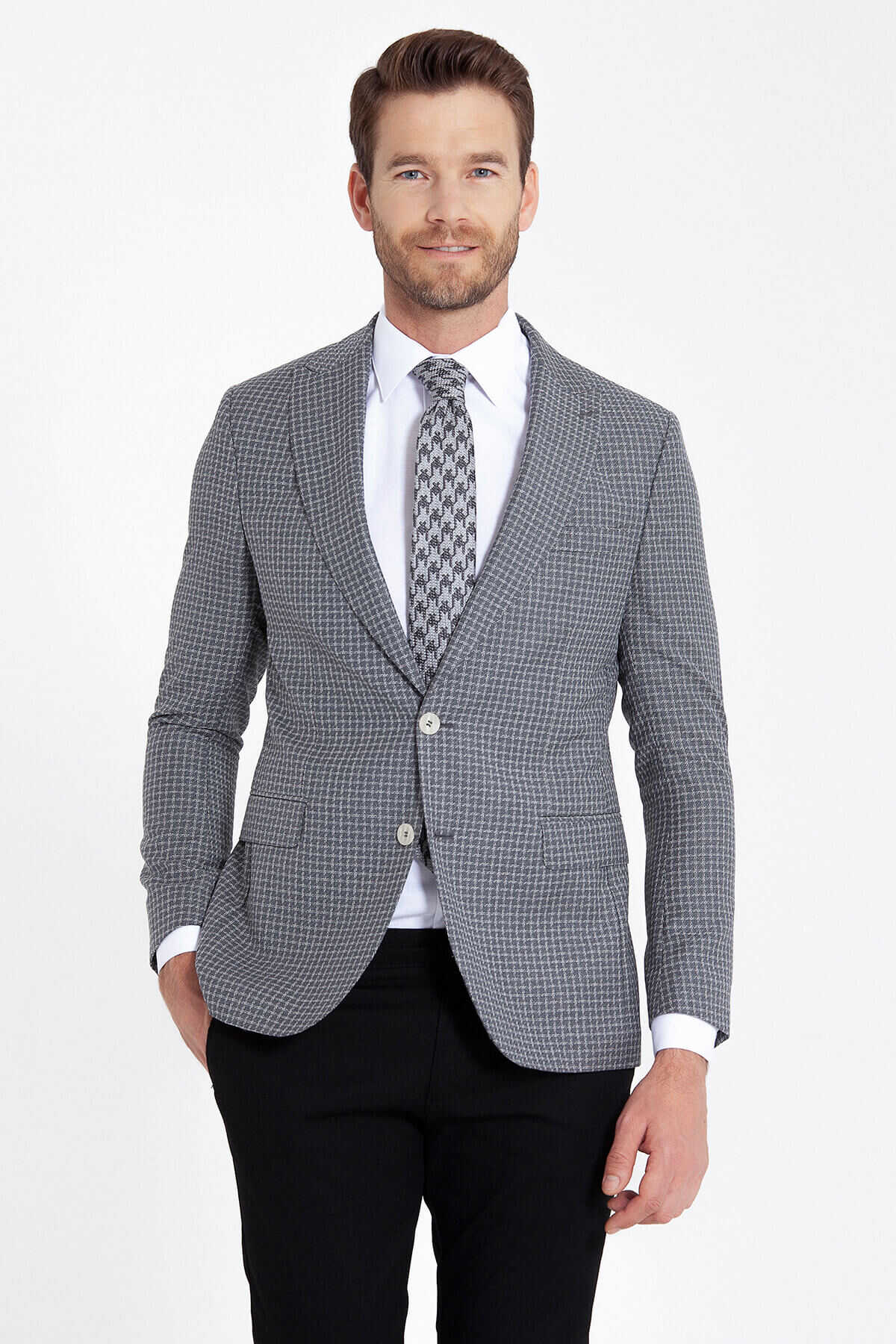Hatem Saykı - Grey Plaid Slim Fit Wool Blazer