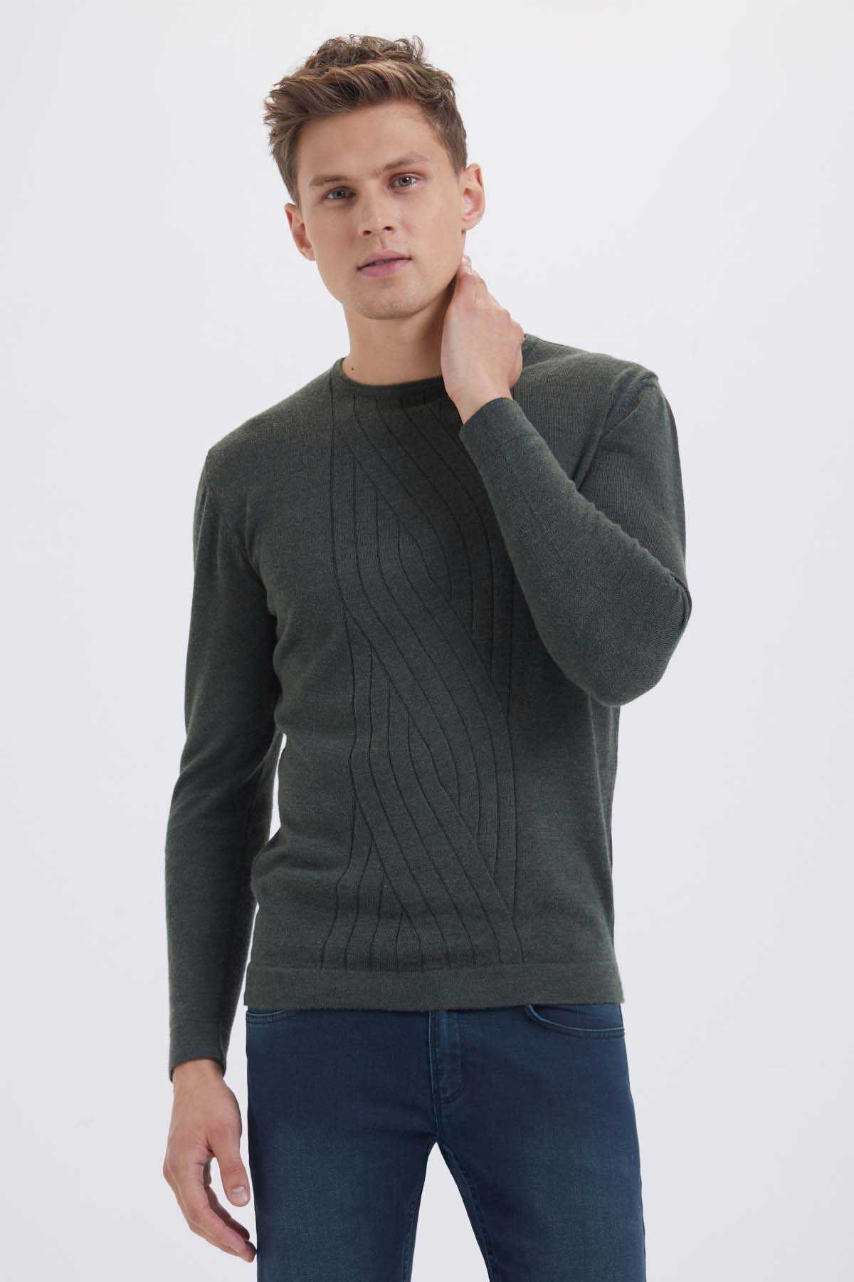 Hatem Saykı - Khaki Crew Neck Wool Sweater